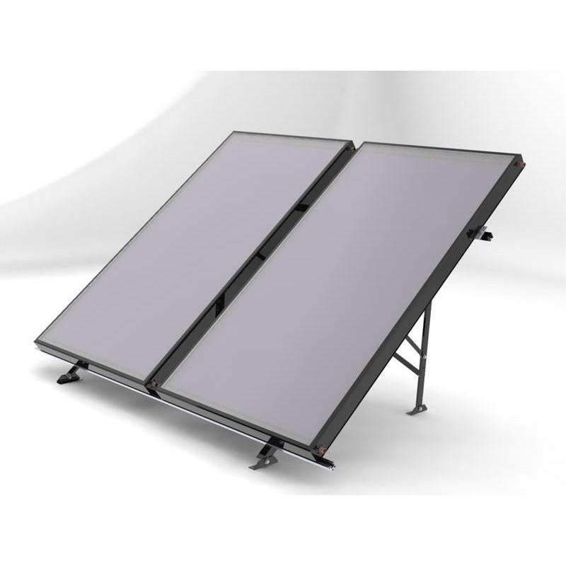 Structure sol pour 2 panneaux solaires thermiques piscine for Panneaux solaires thermiques pour piscine