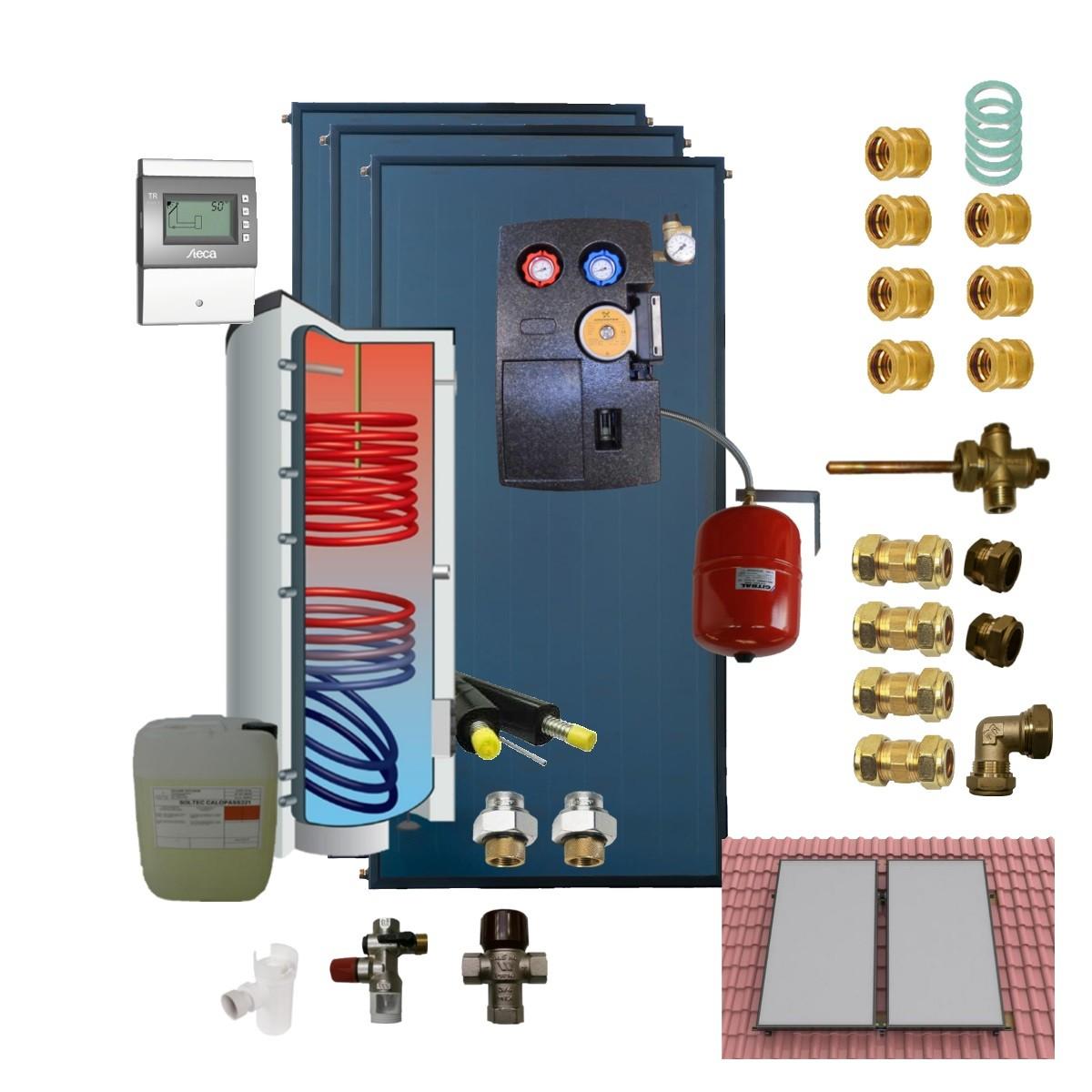 Kit 400 litres + 3 panneaux solaires thermiques