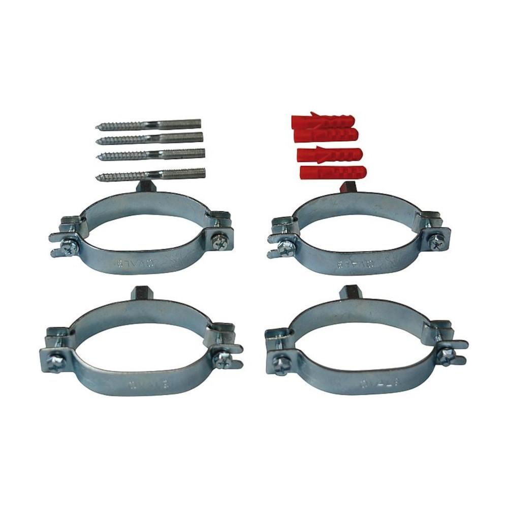 Kit de fixation pour bitube inox onduleux : 4 colliers, 4 chevilles et 4 goujons filetés