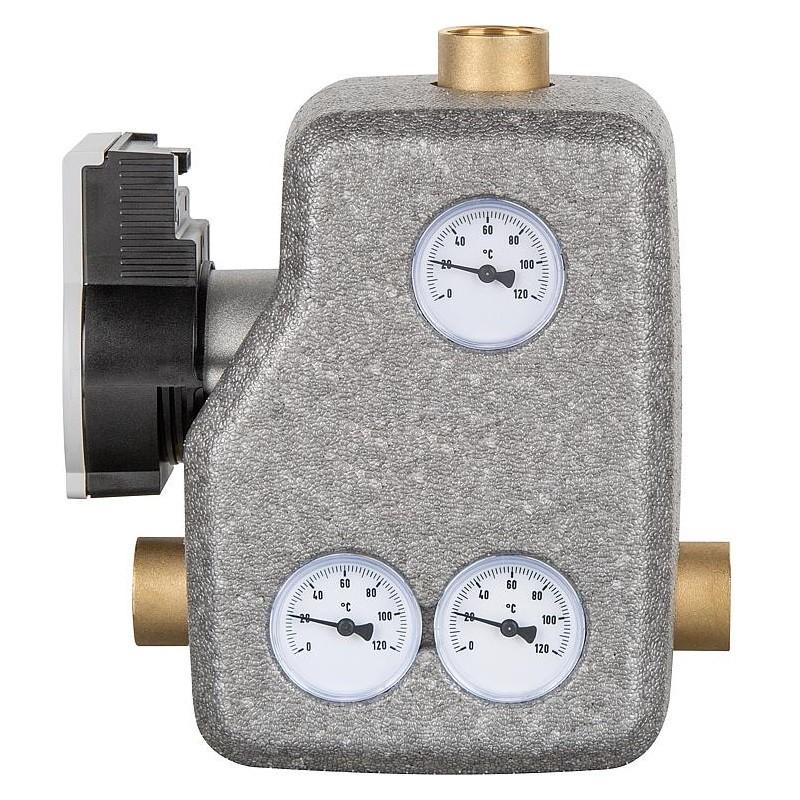 Groupe de recirculation anti-condensation pour chaudière à combustible solide avec vanne thermostatique 55°C